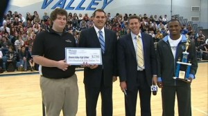 Pictured here are a representative from Clearview Federal Credit Union, Mr. Korcinsky, John Meyer, and Forrest Barnes.