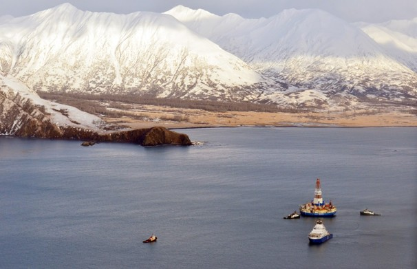 One of Shell's drilling ships, the Kulluk, sits in Kiliuda Bay on January 7th, only days after crashing into Sitkalidak Island . Photo courtesy of the Associated Press.