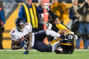 Troy Polamalu bringing down Brandon Marshall of the Chicago Bears in Monday night's lost as the Steelers fall to (0-3) from NFL.com.
