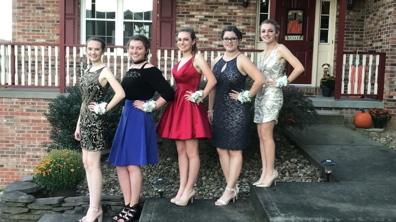 Reilly Scherzer and her group ready to go to the dance. The group included (left to right): Kristina Johnson, Francesca Citrone,