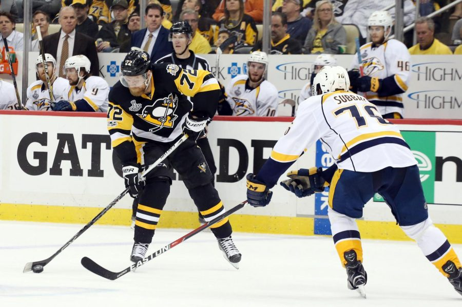 The Pittsburgh Penguins and Nashville Predators battle during the 2017 Stanley Cup Finals at PPG Paints Arena in Pittsburgh, Pennsylvania.