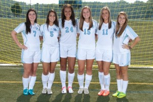 Seniors on the girls' varsity soccer team from left to right: Misha Demchuck, Mallory Accamando, Alex Bilka, Melissa Lynskey, Morgan Williams,  and Rachel Leake. (Photo: http://www.svgirlssoccer.com/)