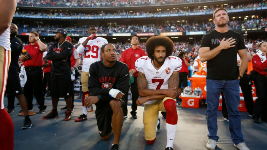 Kaepernick+Leads+Demonstration+Calling+Attention+to+Social+Issues