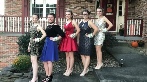 Reilly Scherzer and her group ready to go to the dance. The group included (left to right): Kristina Johnson, Francesca Citrone, Brooke Raschke,  Reilly Scherzer, and Martina Beggy